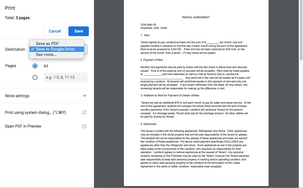 Print and save PDF to Google Drive