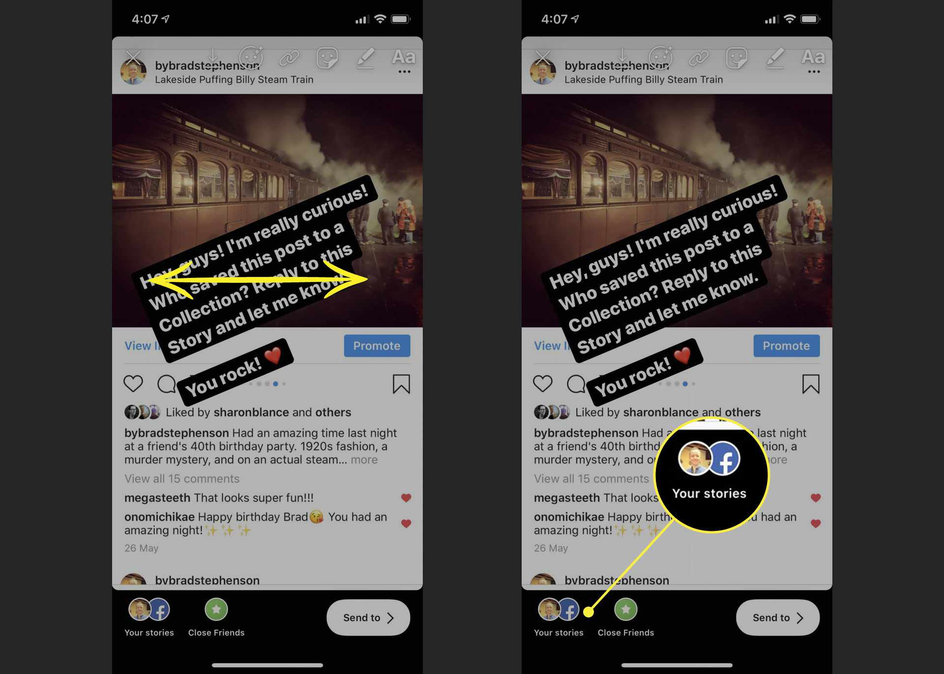 Resizing text and sharing a story to Instagram