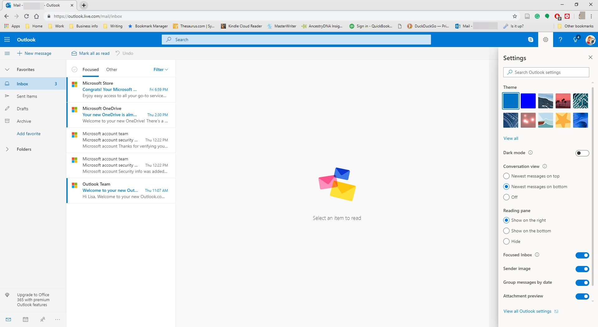 Selecting to view all Outlook settings in Outlook.com.