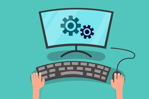 Hands using computer to config system vector illustration.Setting personal computer concept