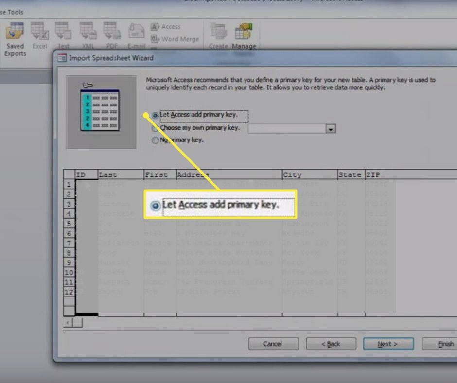 Primary Key in Import Spreadsheet Wizard
