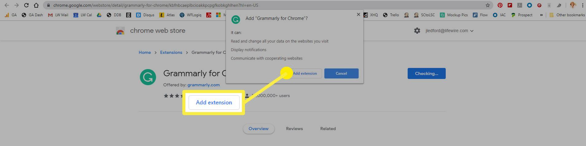 Confirm you want to add an extension in the Chrome Web Store.