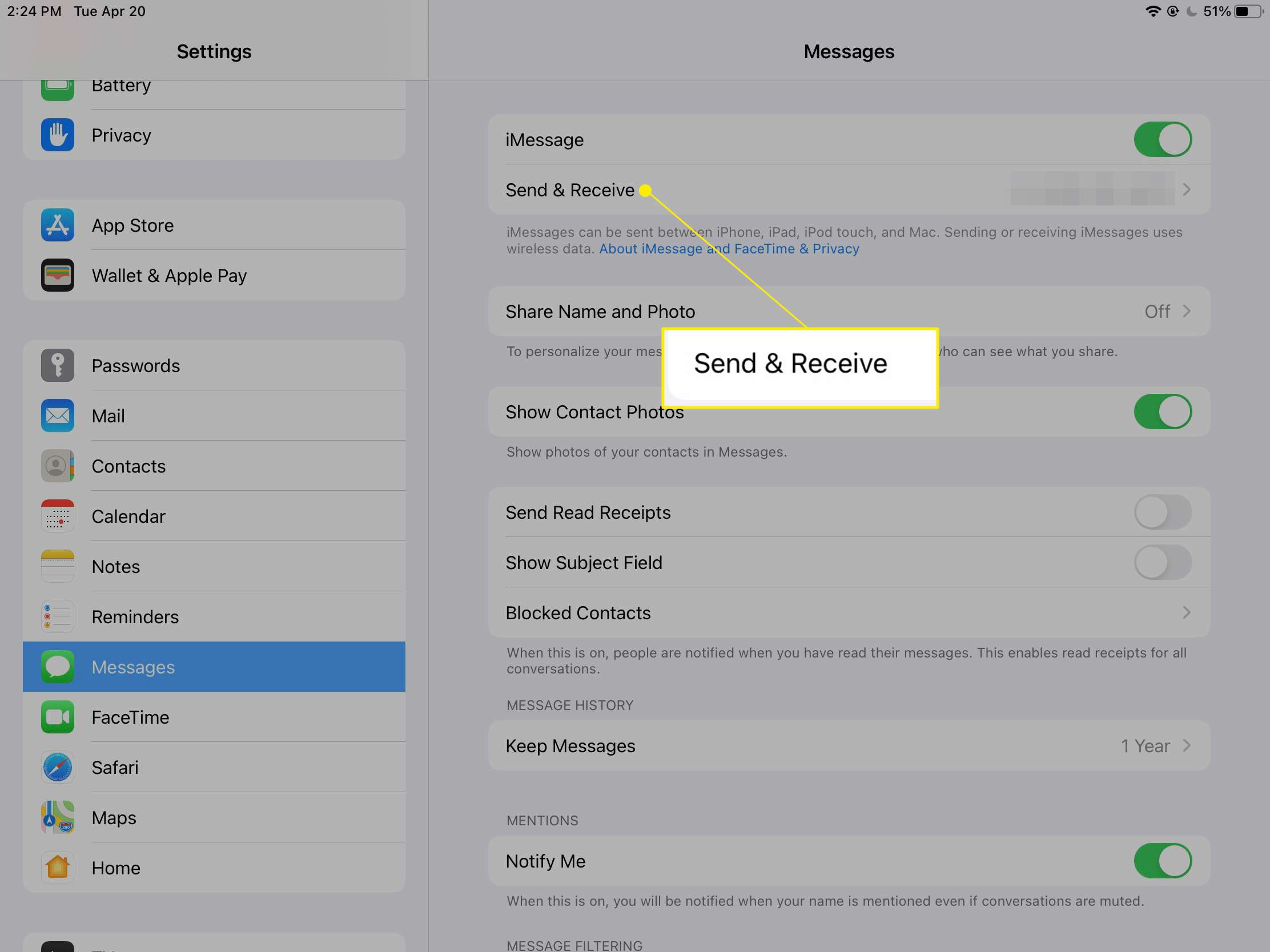 iPad Messages settings with