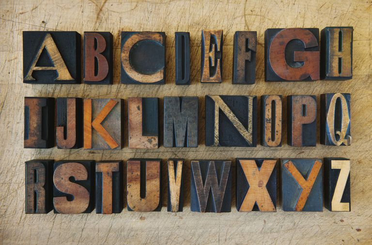 Close up of alphabet on letterpress