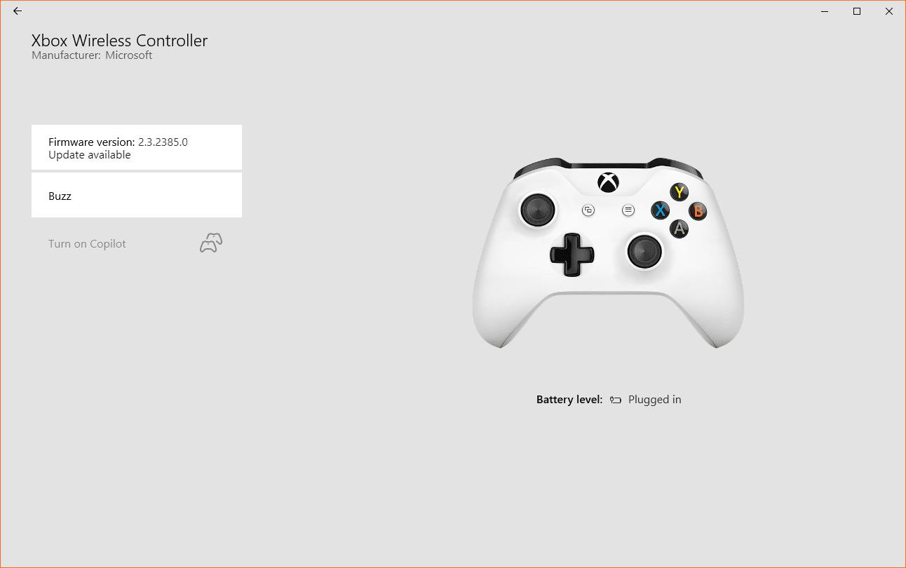 A screenshot of the Xbox Accessories firmware update screen.