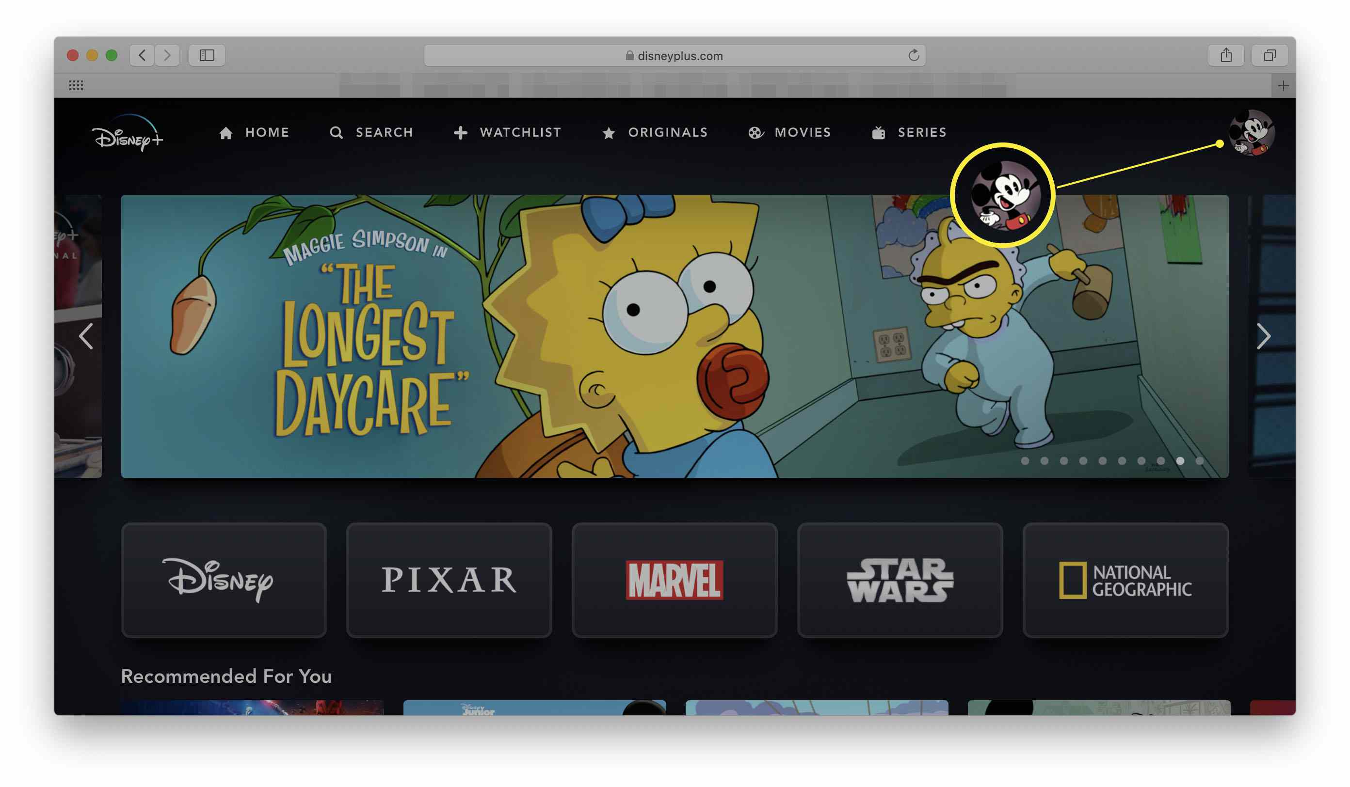 Disney+ in a web browser with the profile icon highlighted