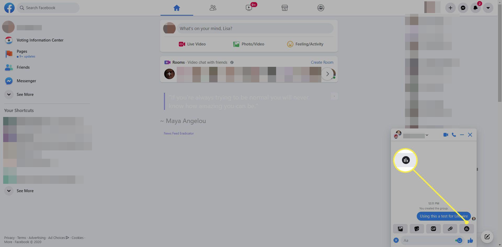 Create a poll button in Facebook Messenger.
