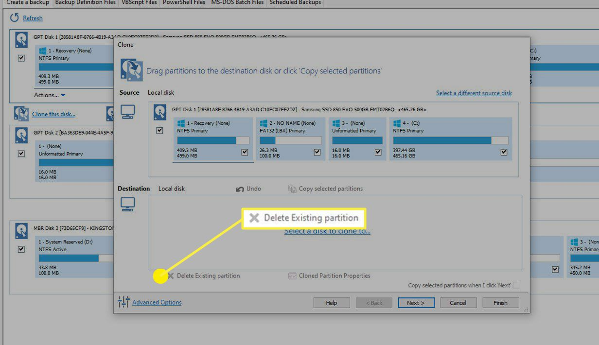 The Delete Existing Partition option.