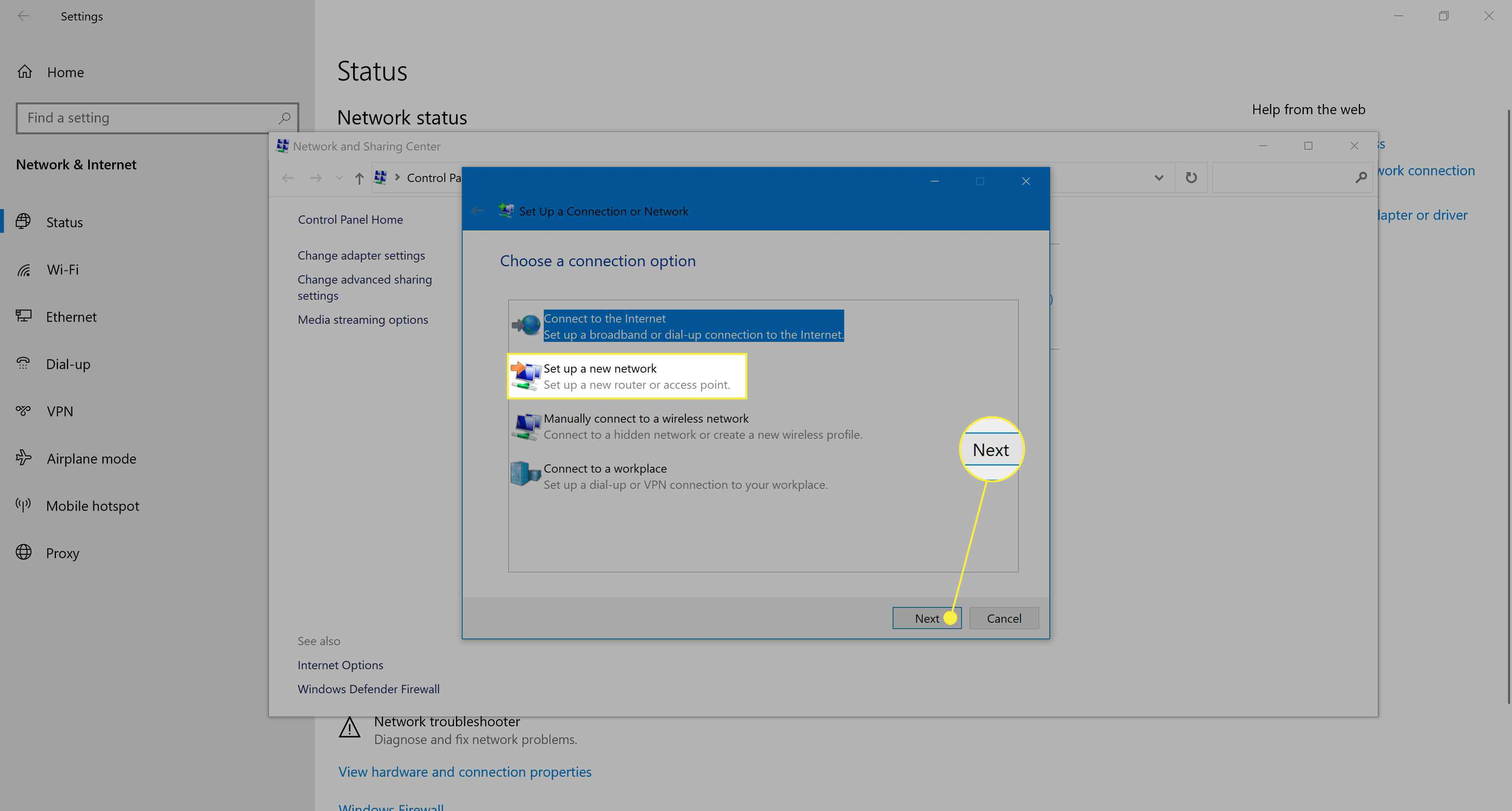 Setting up a new network in Windows 10.
