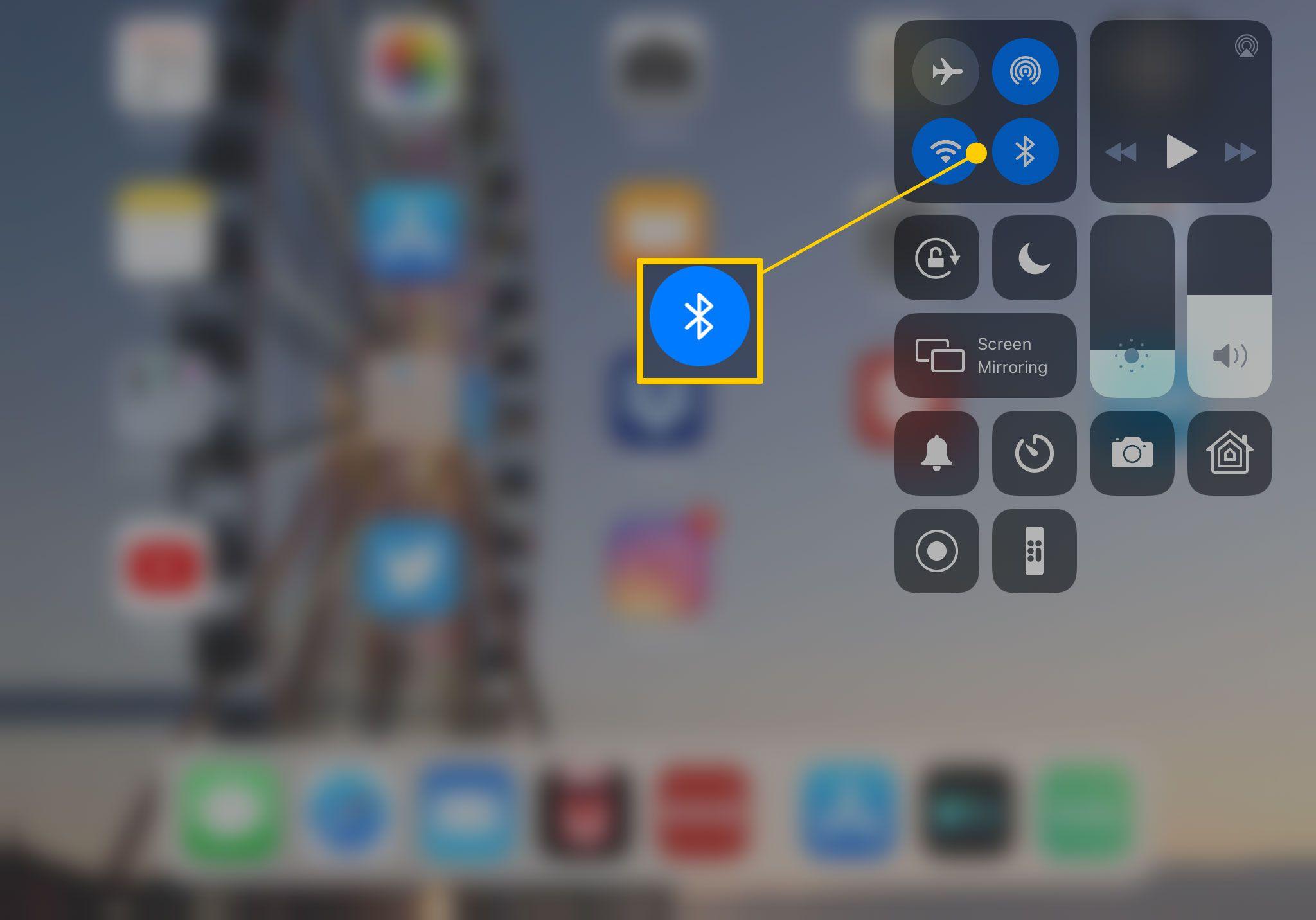 Bluetooth button on iPad