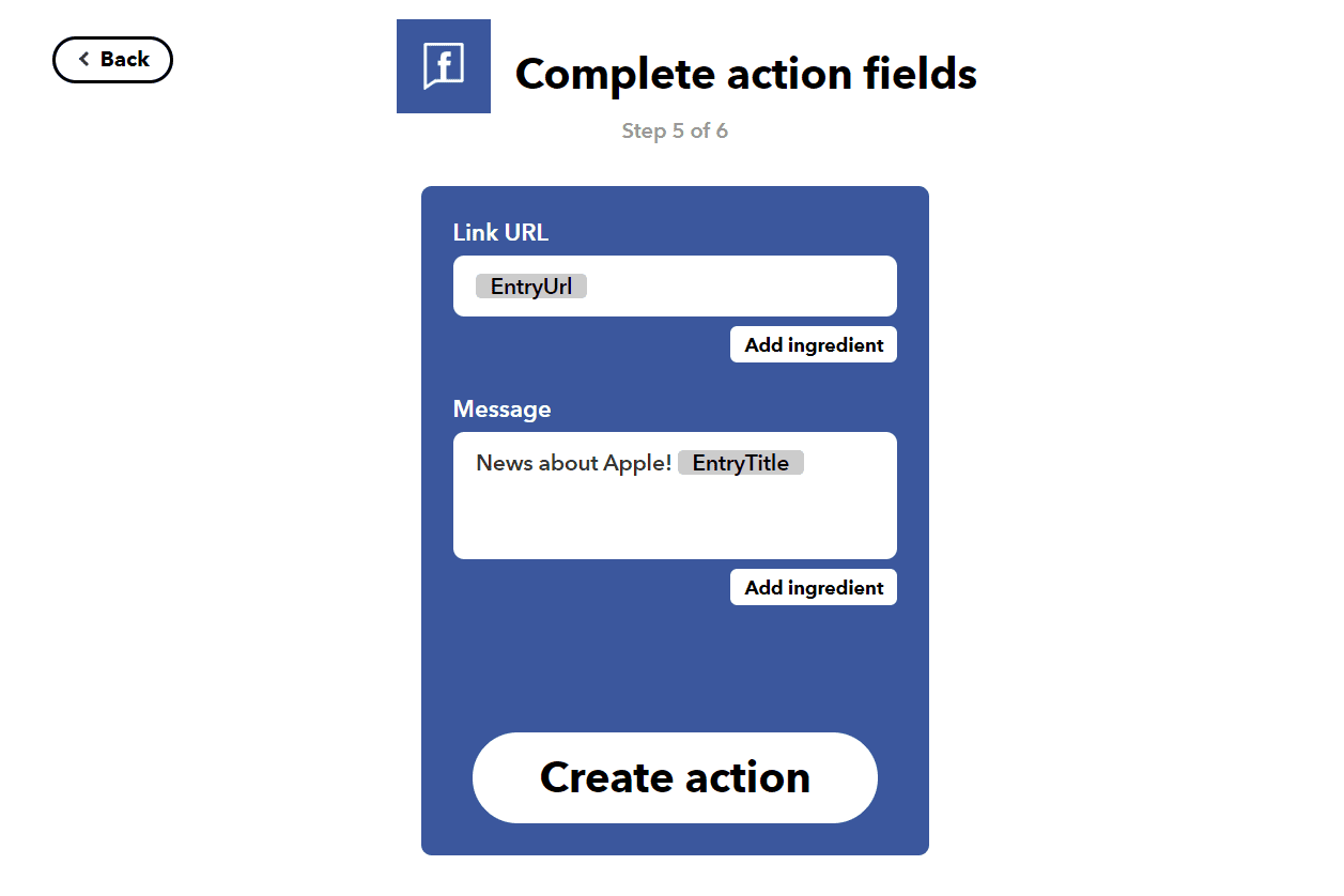 IFTTT complete action fields for Facebook Pages