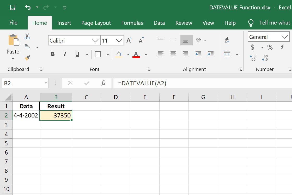 DATEVALUE function with serial date result