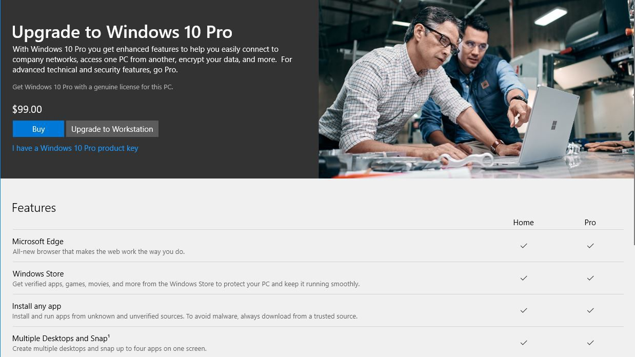 microsoft upgrade windows with only a product key page