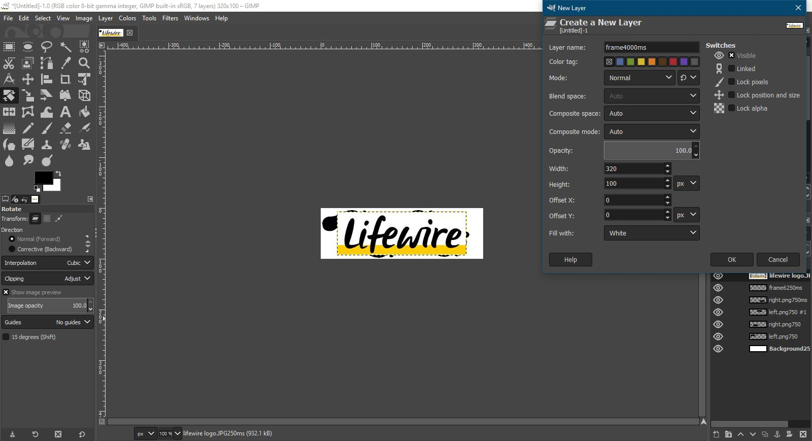 Adding the Lifewire logo to the animation in GIMP.