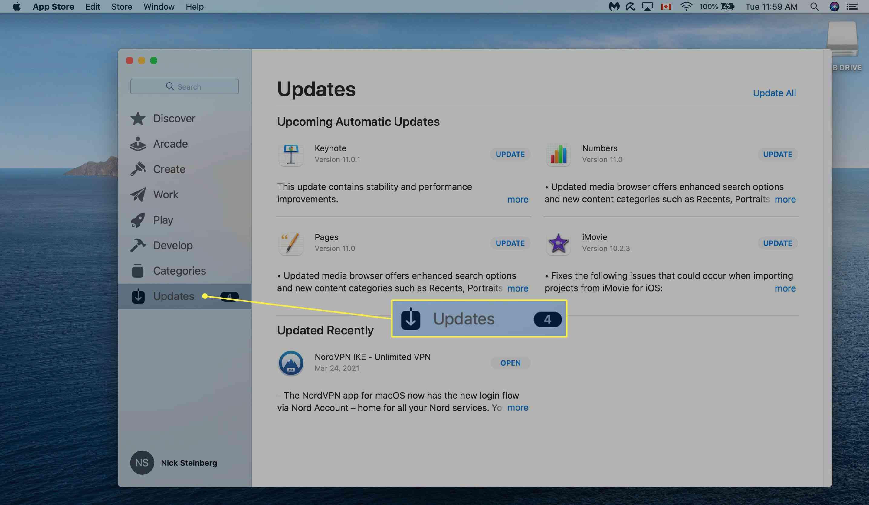 Checking Apple App Store updates on Mac.