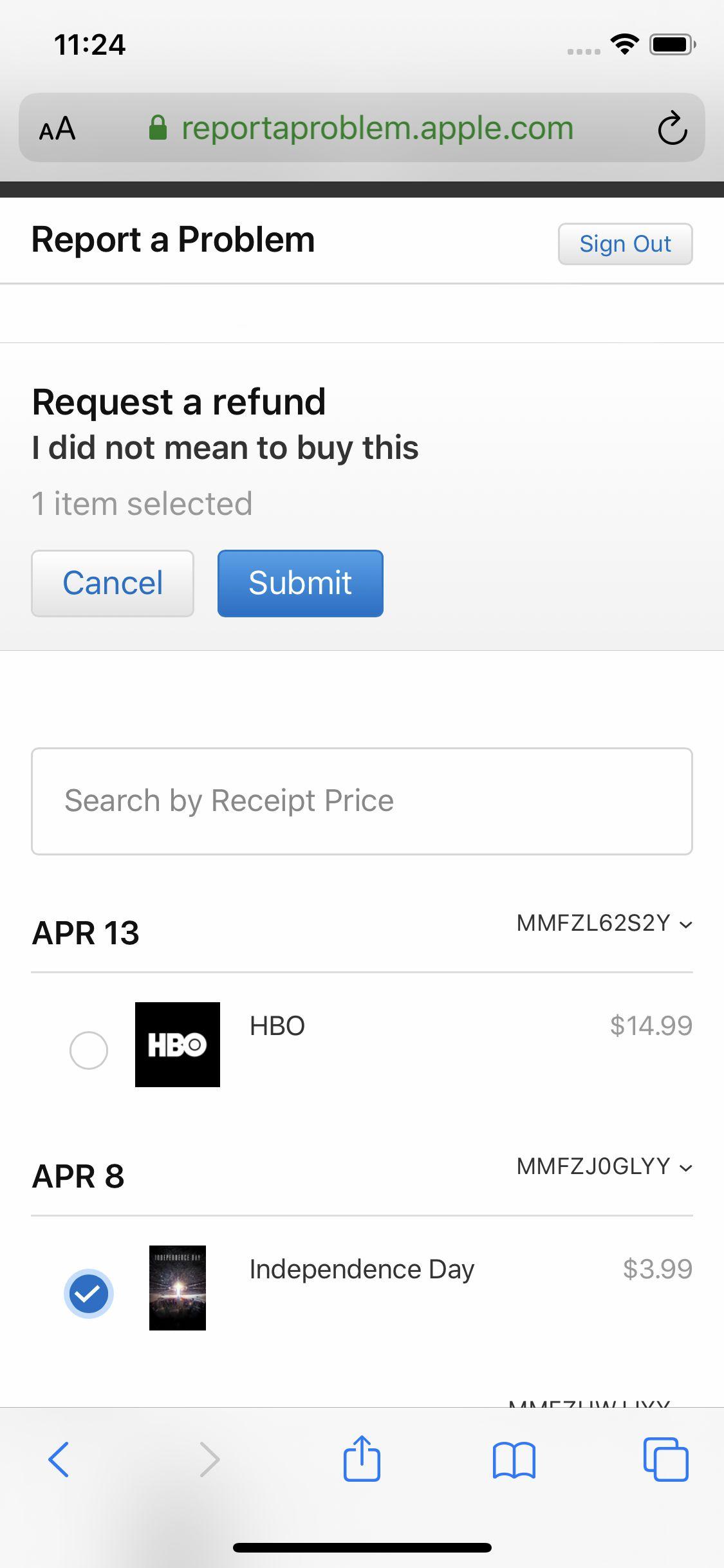 Screenshot of iTunes refund request