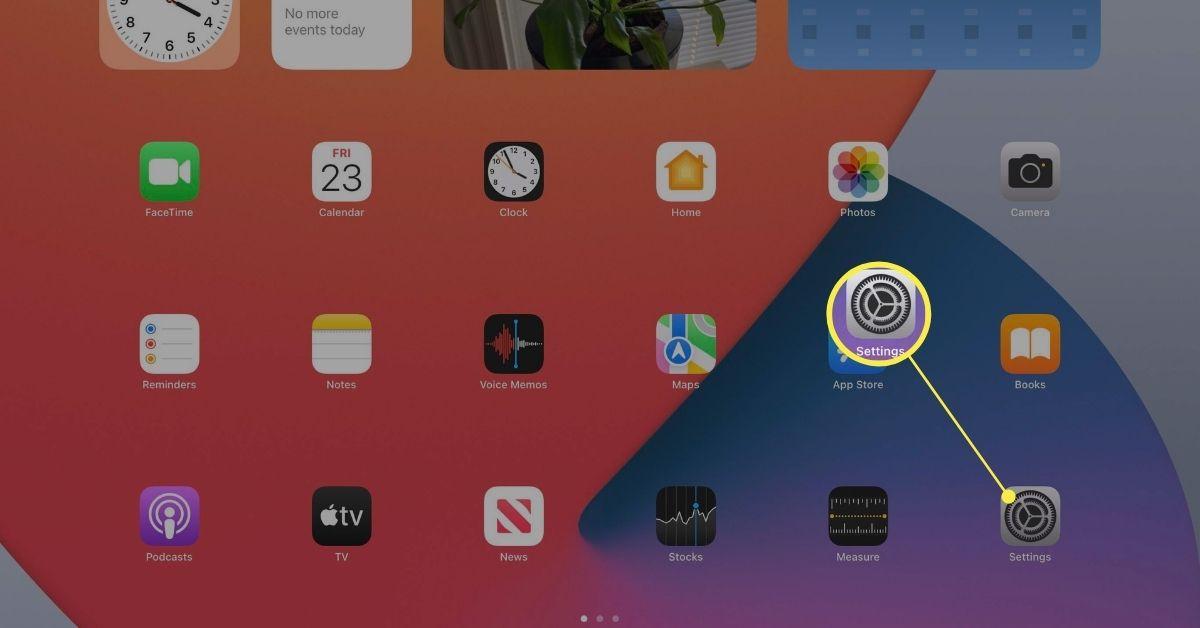Settings on an iPad.