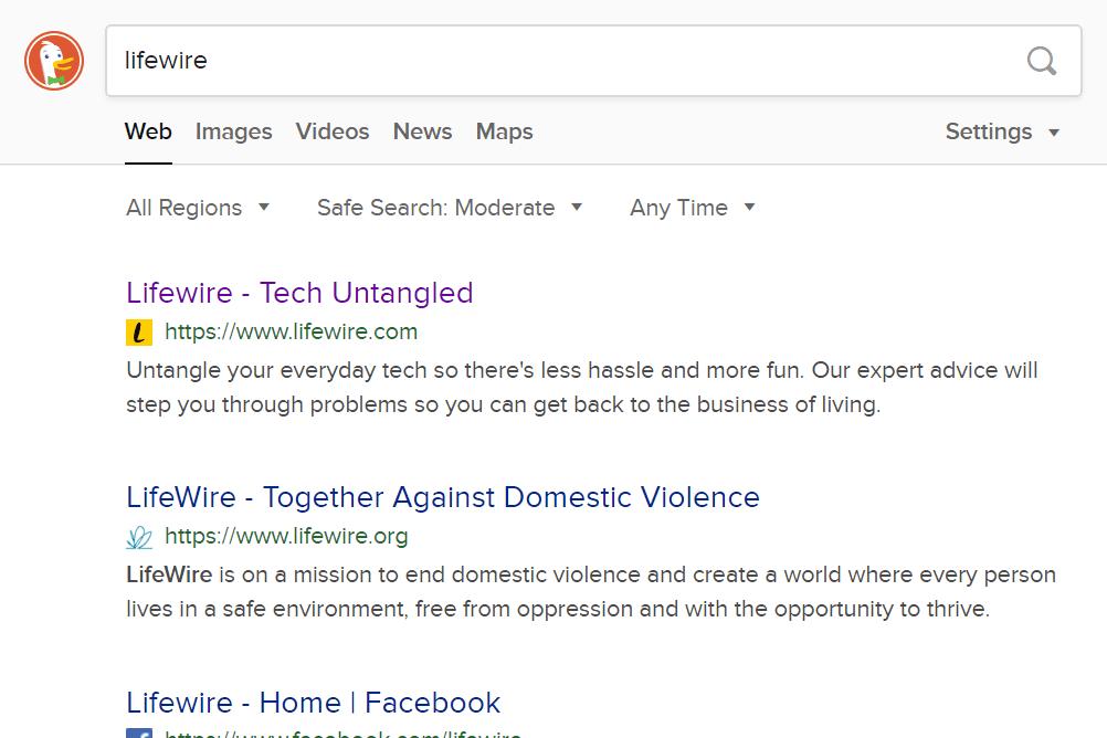 DuckDuckGo search for Lifewire