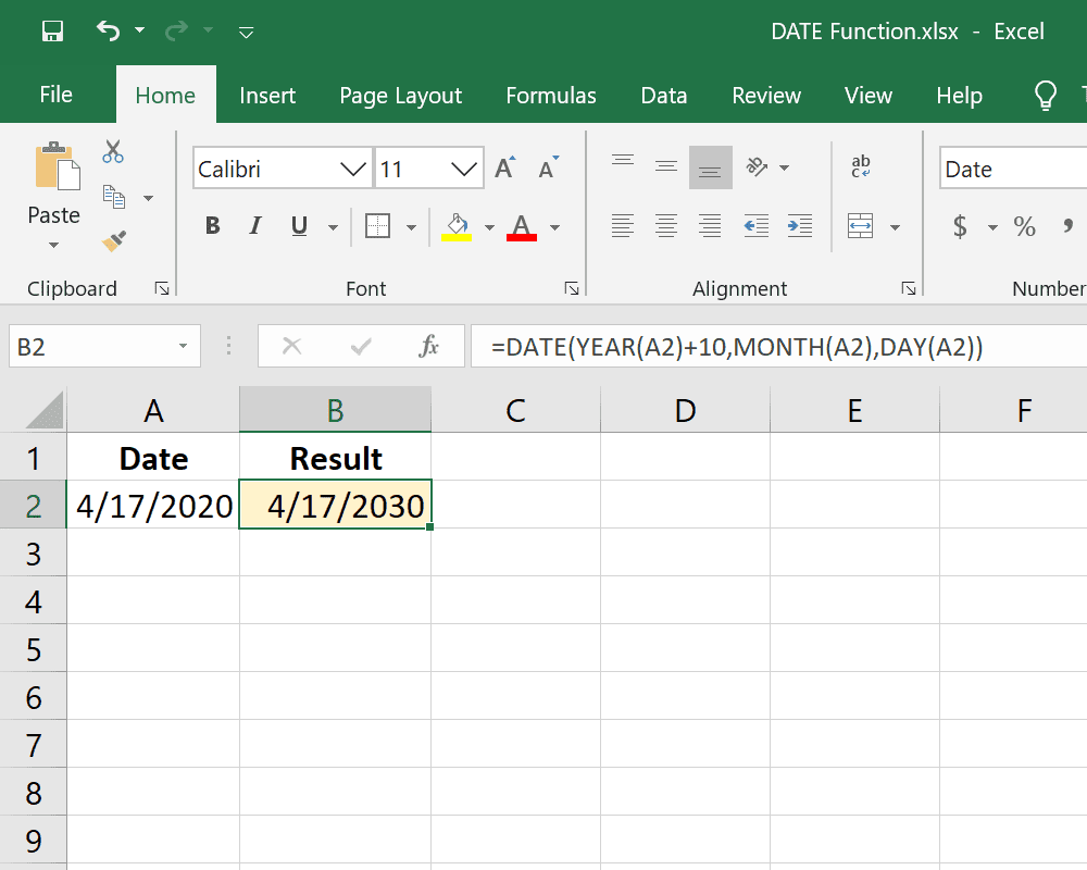 Example of the Excel DATE function