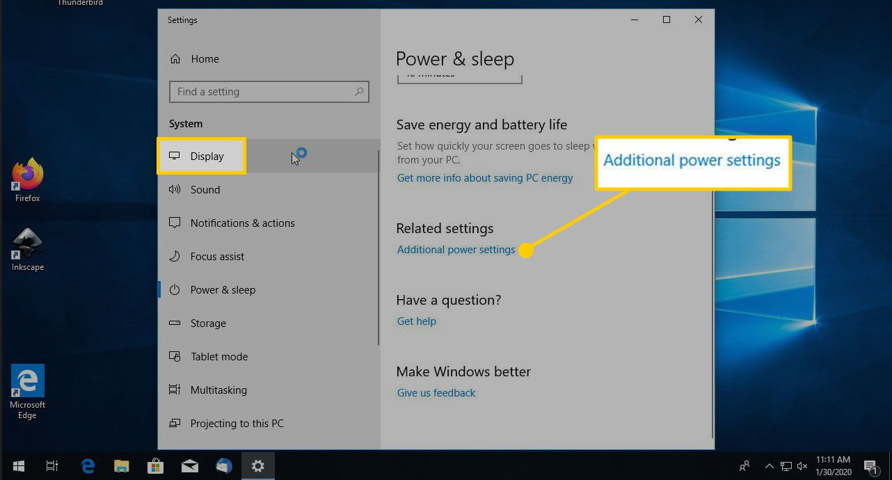 Additional Power Settings item in Windows