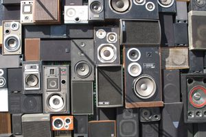 A wall of stereo speakers