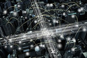 Cityscape showing interconnectedness between buildings