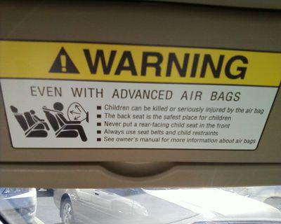airbag warning in a car