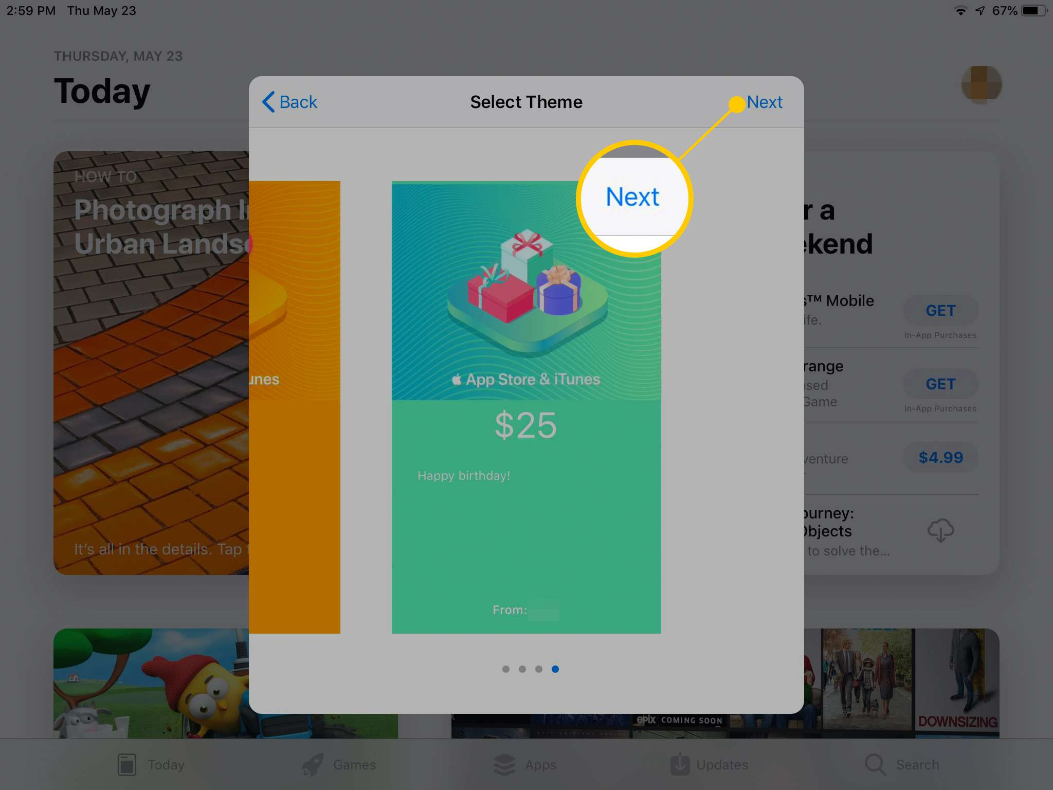 Theme selection screen for Gift Card on App Store