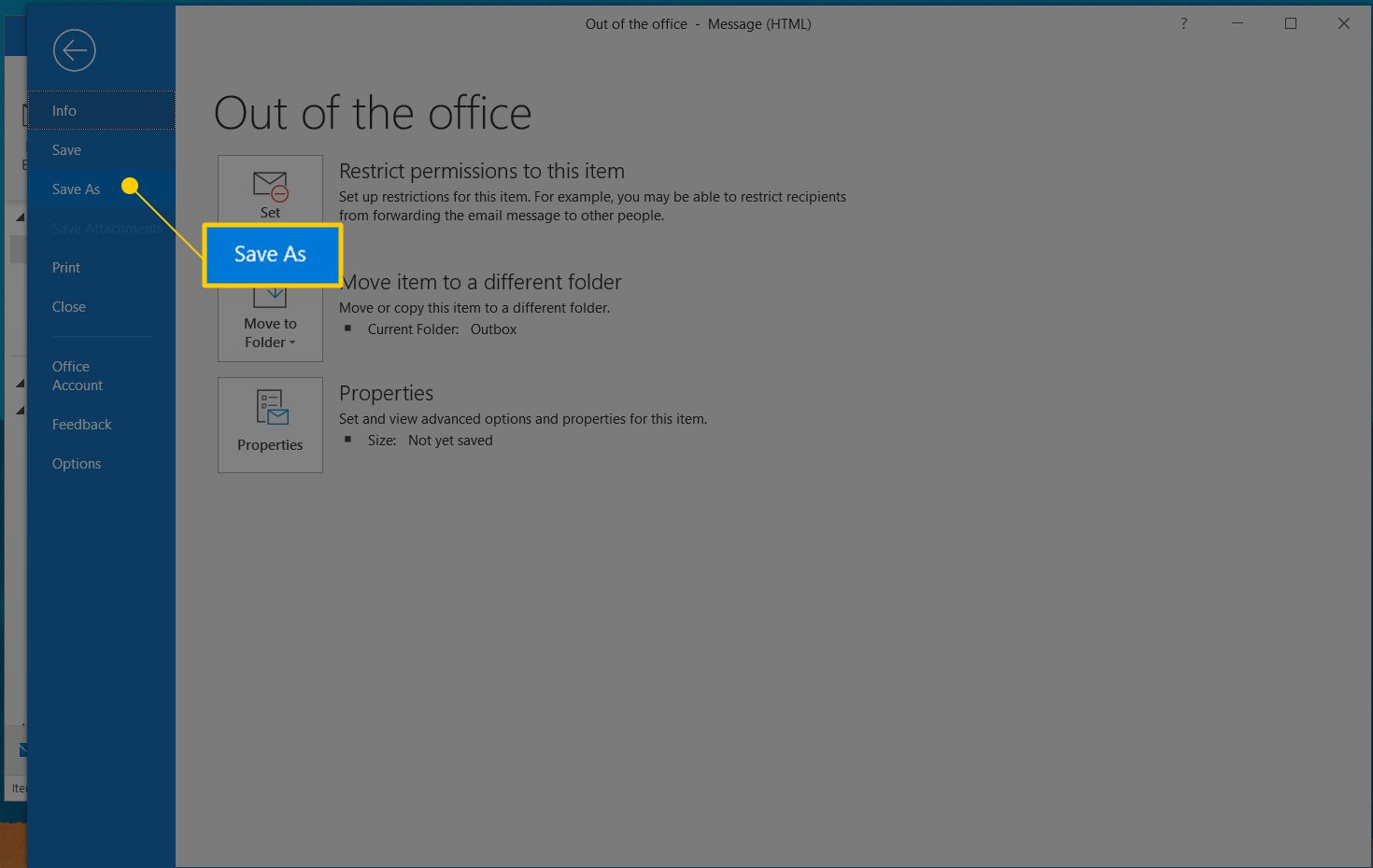 Save As option in Outlook File dialog