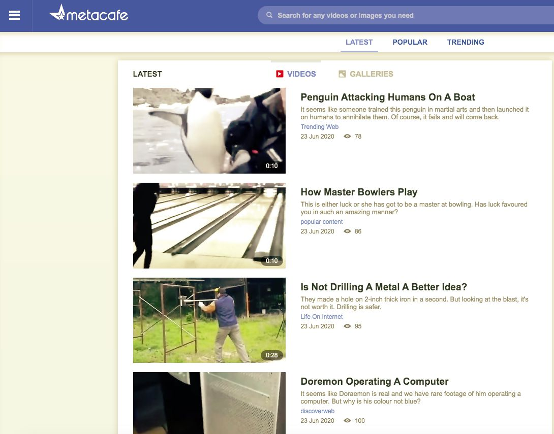Metacafe video content page