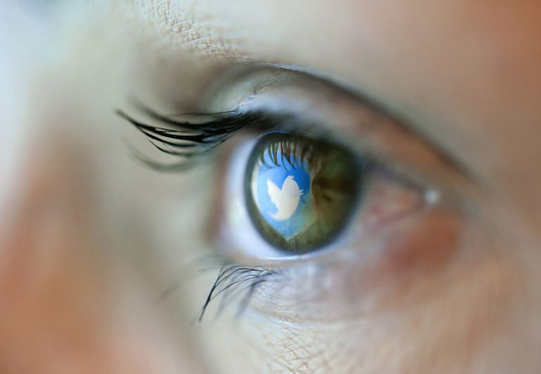 Twitter icon reflected in the eye of a person