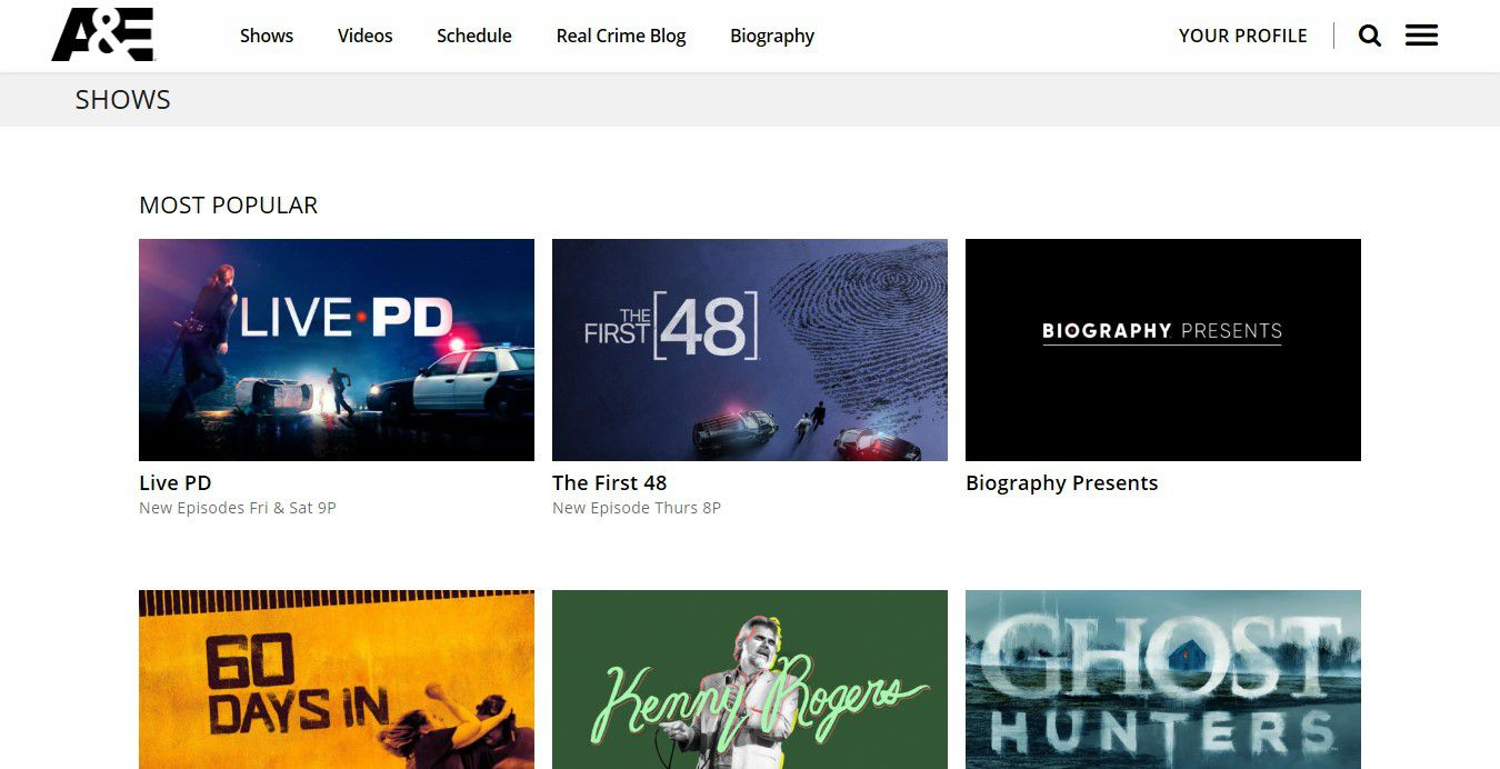 Watch True Crime and Biographies at A&E
