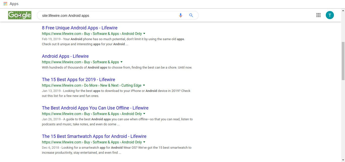 Google site specific results