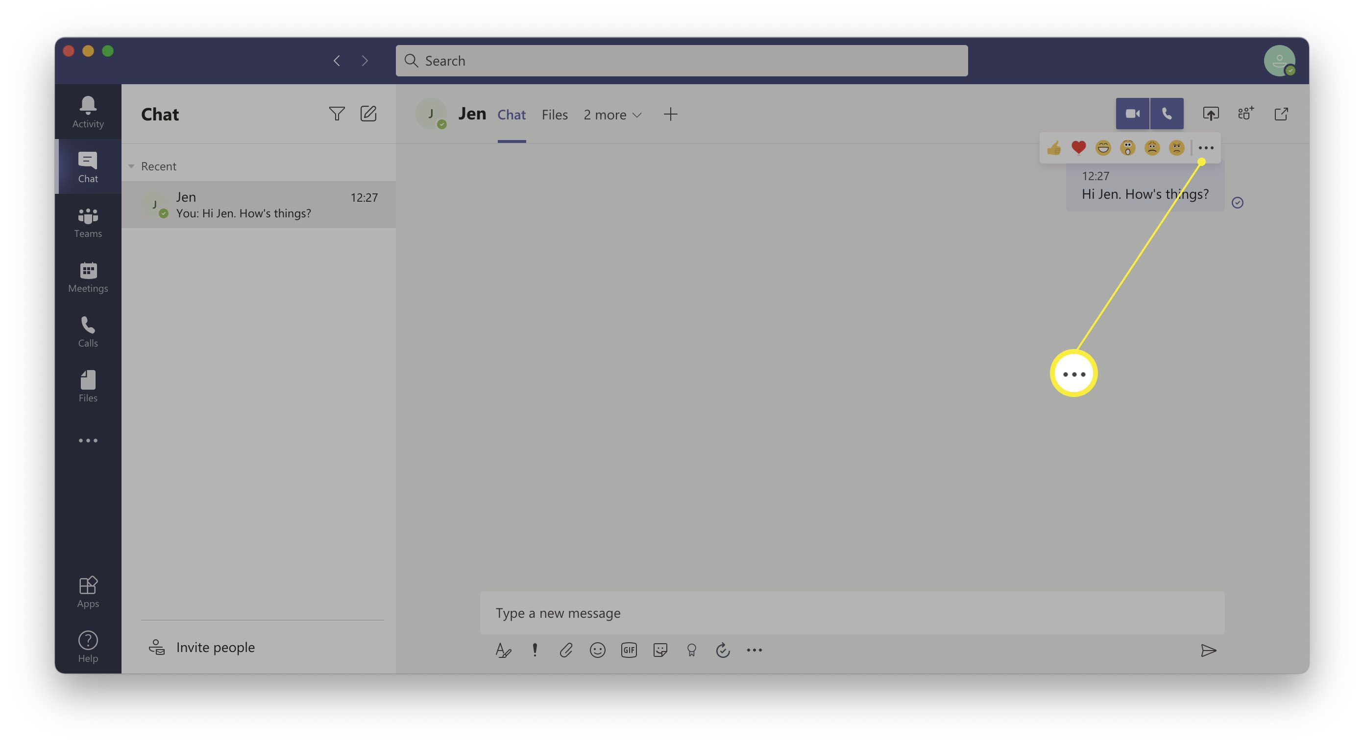 Microsoft Teams - the ellipsis icon over chat messages for making further changes