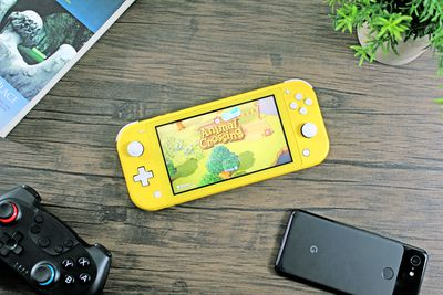 Animal Crossing playing on a Switch Lite.