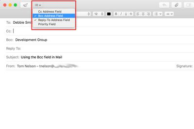 Mac Mail Bcc option