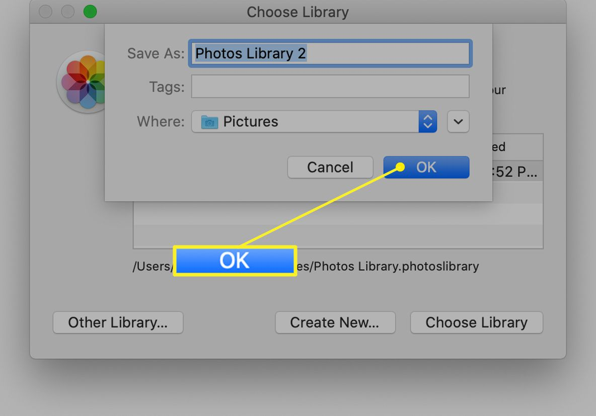 The Choose Library window in iPhoto with a new library named