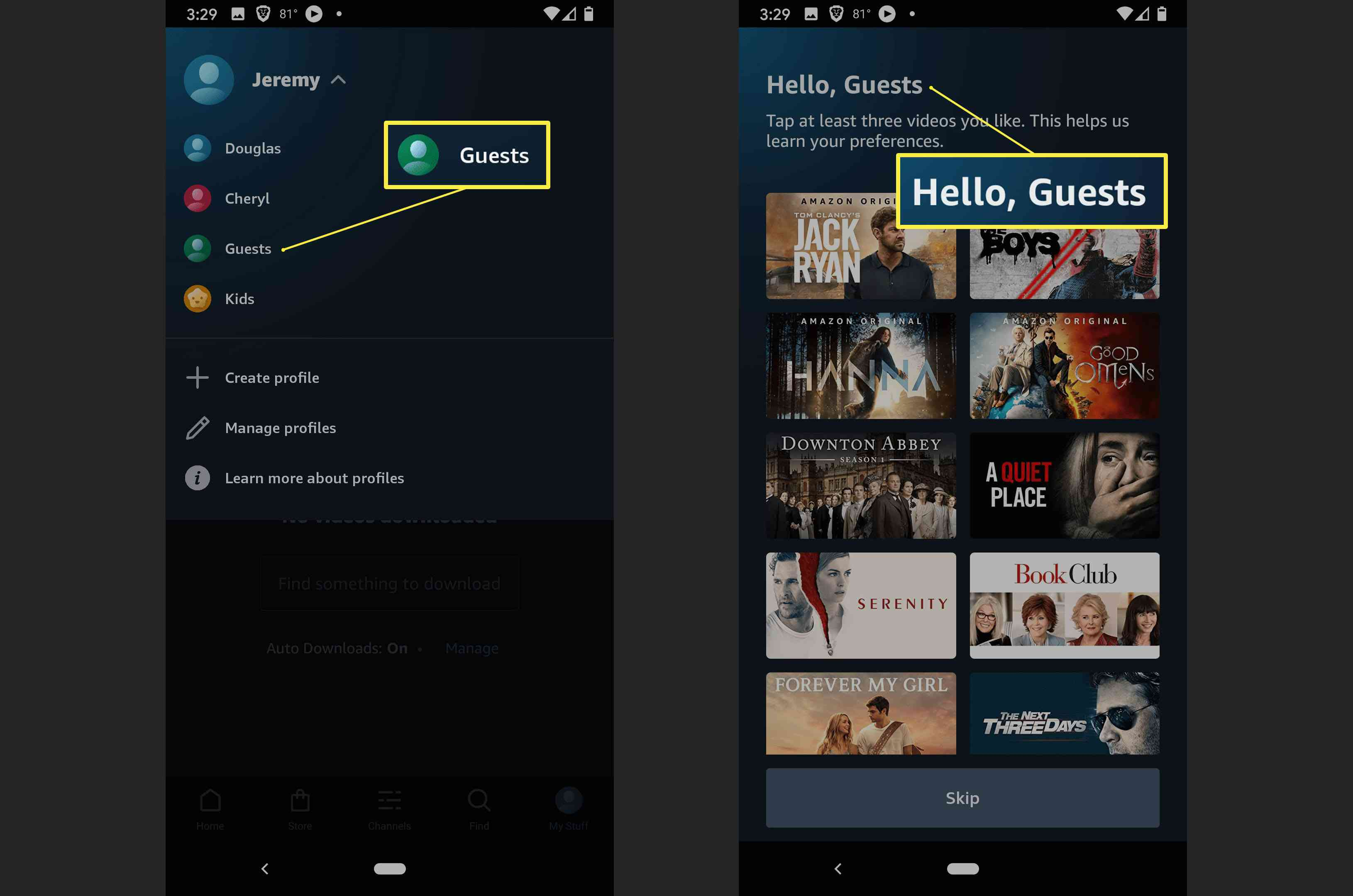 The steps to take to switch profiles on Amazon Prime Video.