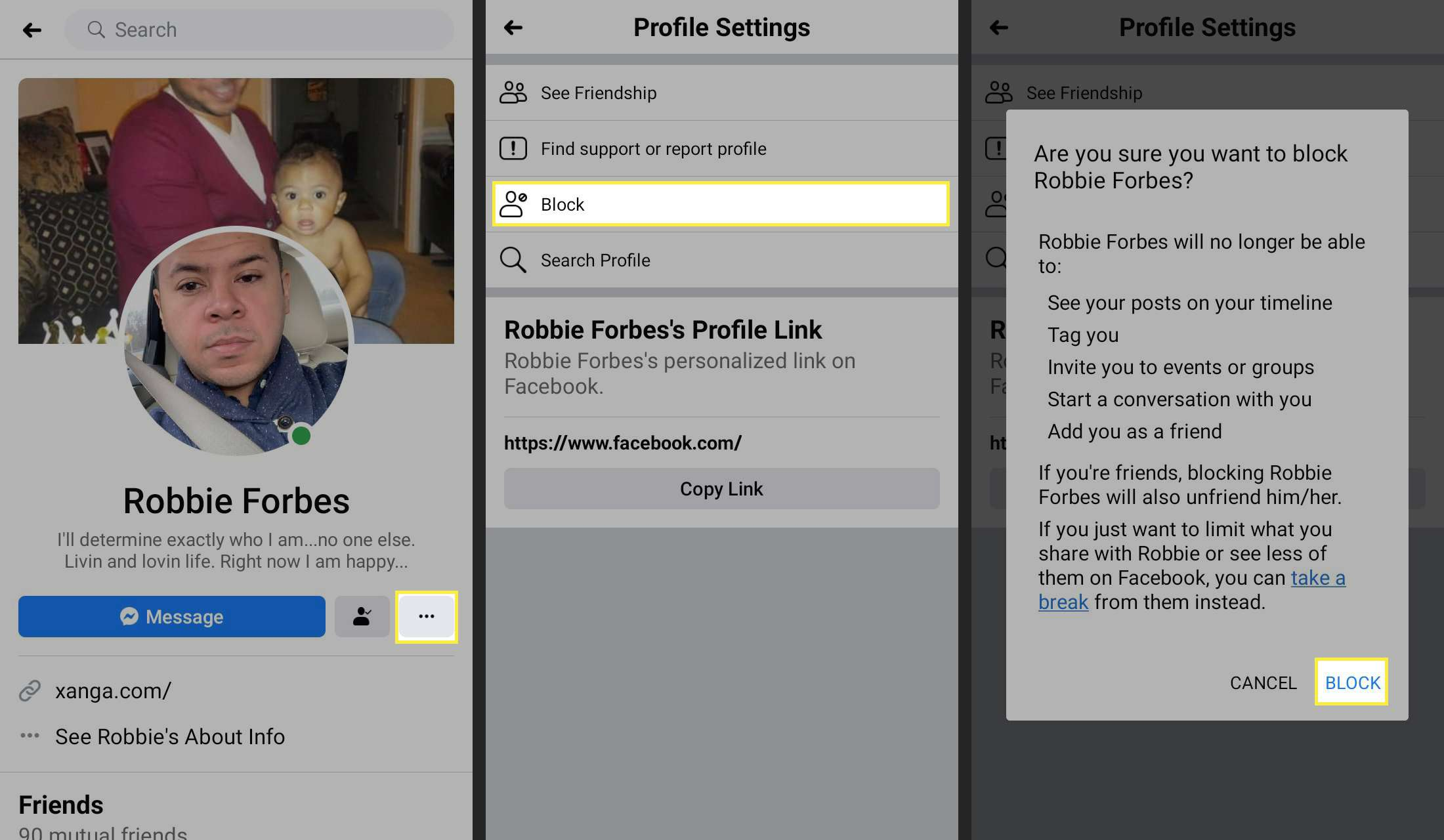 More and Block in the Facebook app.