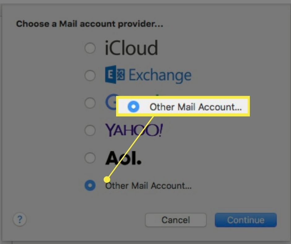 Other Mail Account in Choose a Mail account provider list.