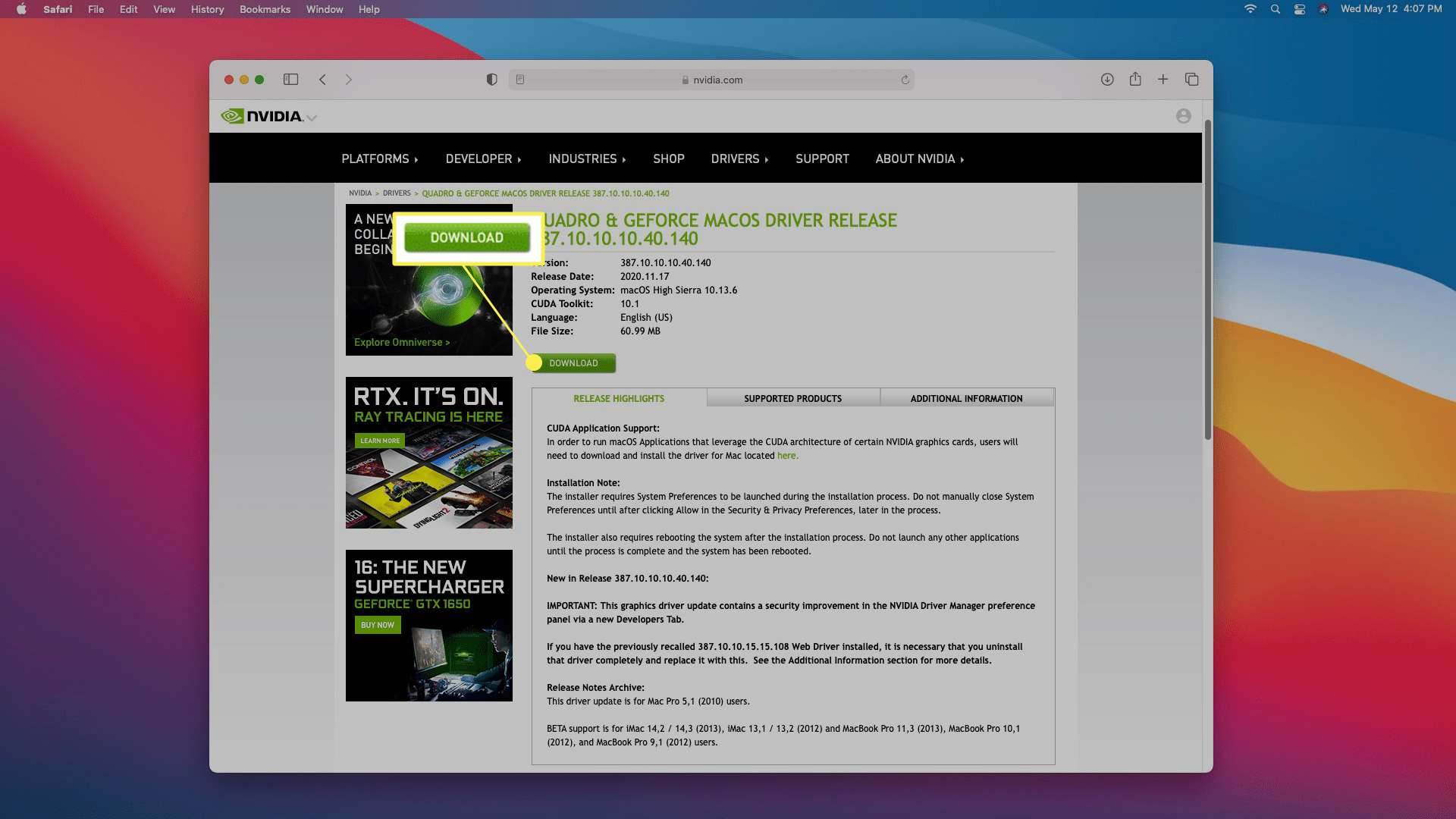 DOWNLOAD highlighted on the Nivida driver download site.