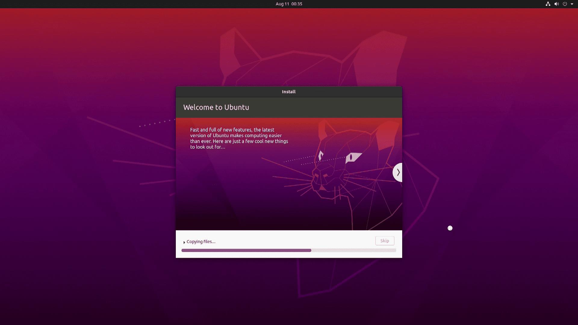 A screenshot of Ubuntu installing.