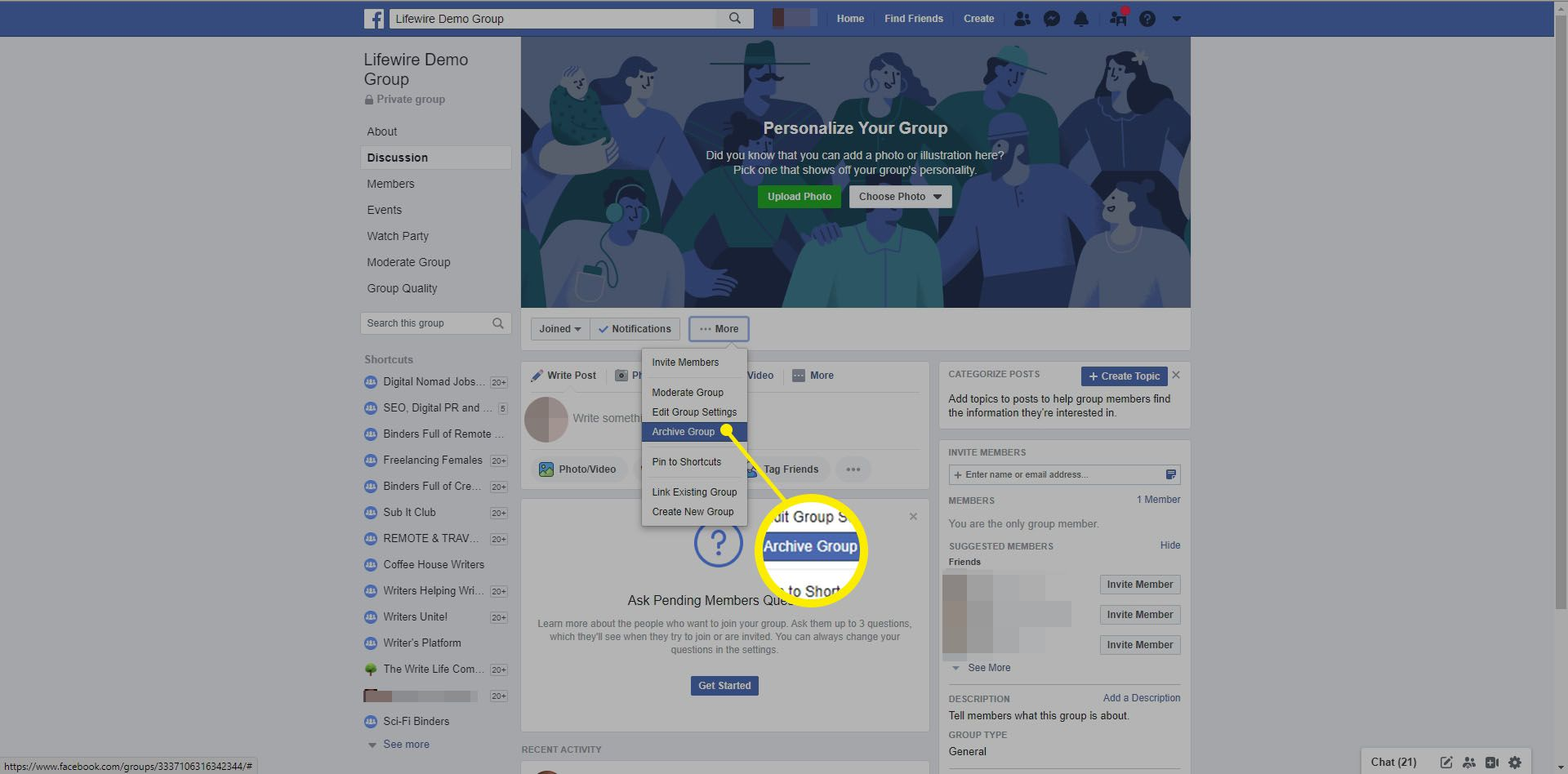 Selecting Archive group in Facebook.