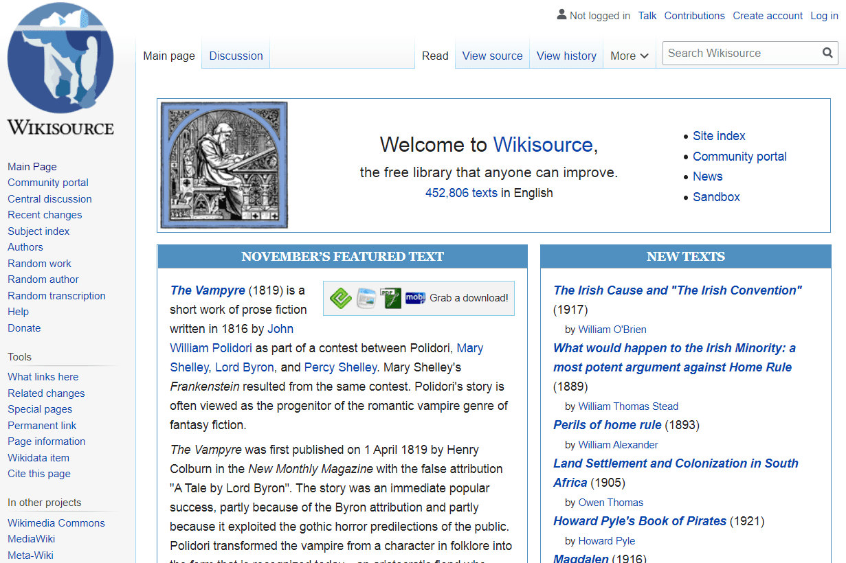Wikisource home page