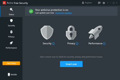Status page in Avira Free Security