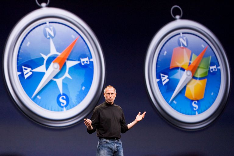 Steve Jobs with Safari logos