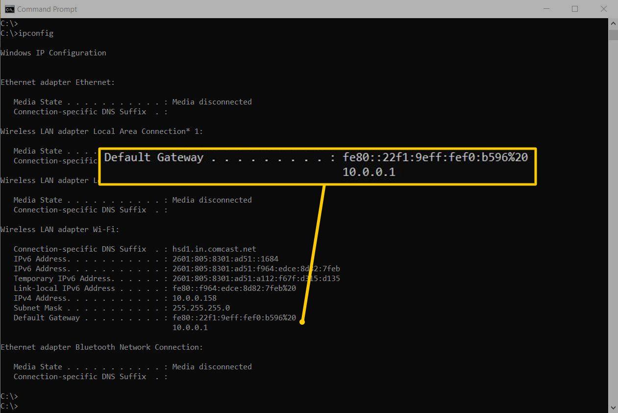 Default Gateway on Command Prompt