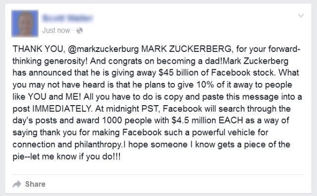 Fake Facebook message about Zuckerberg giving away Facebook stock