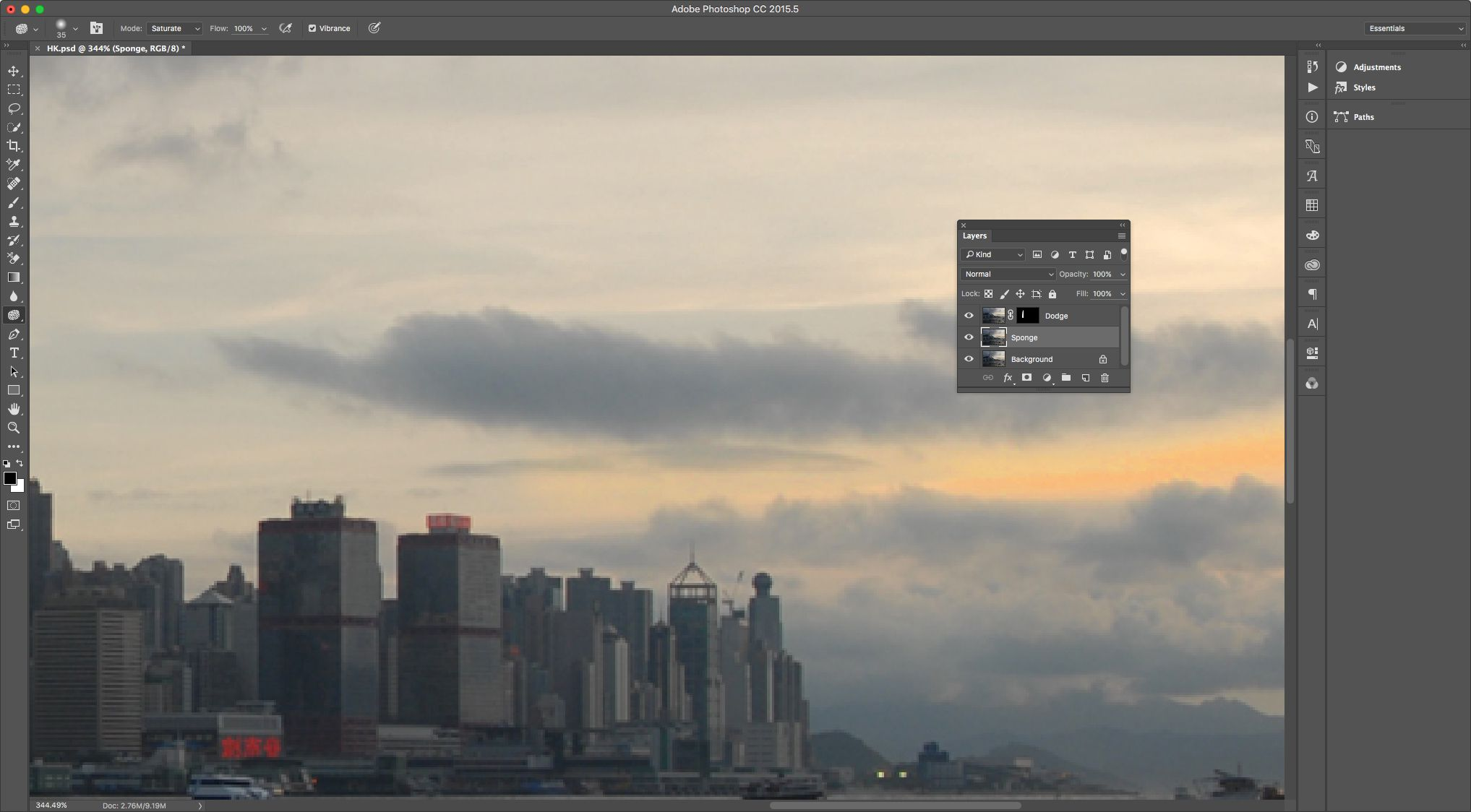 Image shows sunset brighted with Sponge tool and the duplicate layer under the Dodge Layer