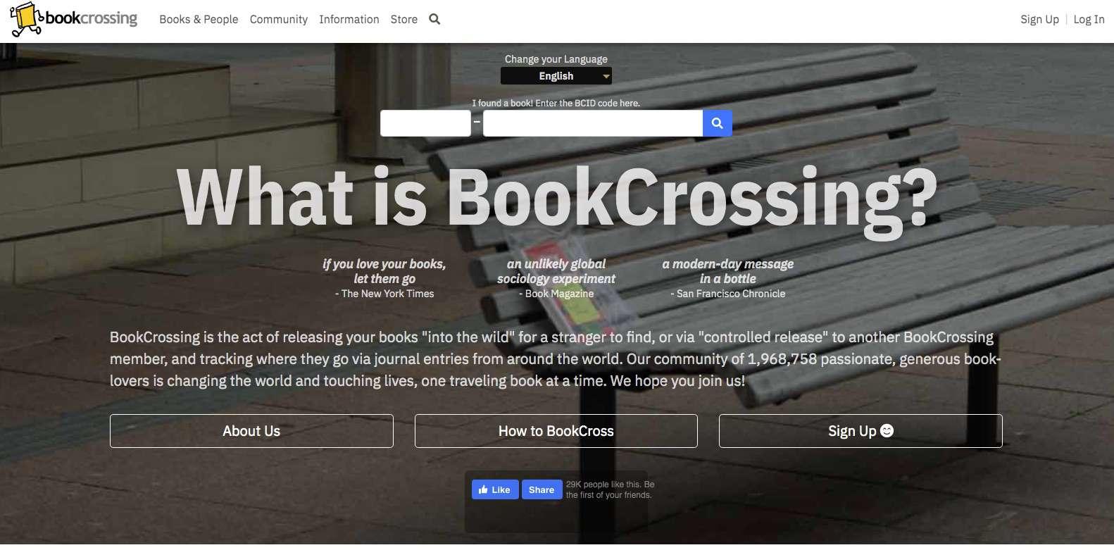 Screenshot of BookCrossing book-centered social network